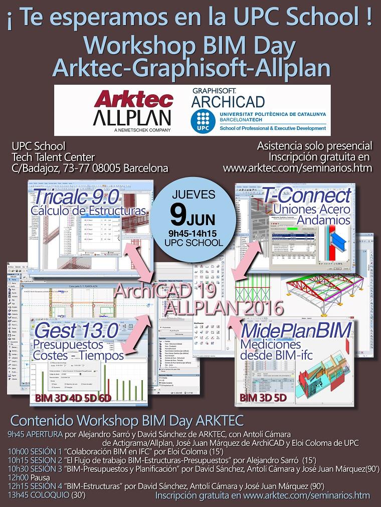 Seminario BIM DAY en la UPC, ARKTEC-GRAPHISOFT-ALLPLAN, Tricalc 9.0 y Gest 13.0