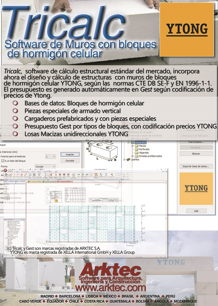 Acuerdo tecnológico entre ARKTEC e YTONG España para incorporar en el software de ARKTEC sus elementos constructivos de hormigón celular