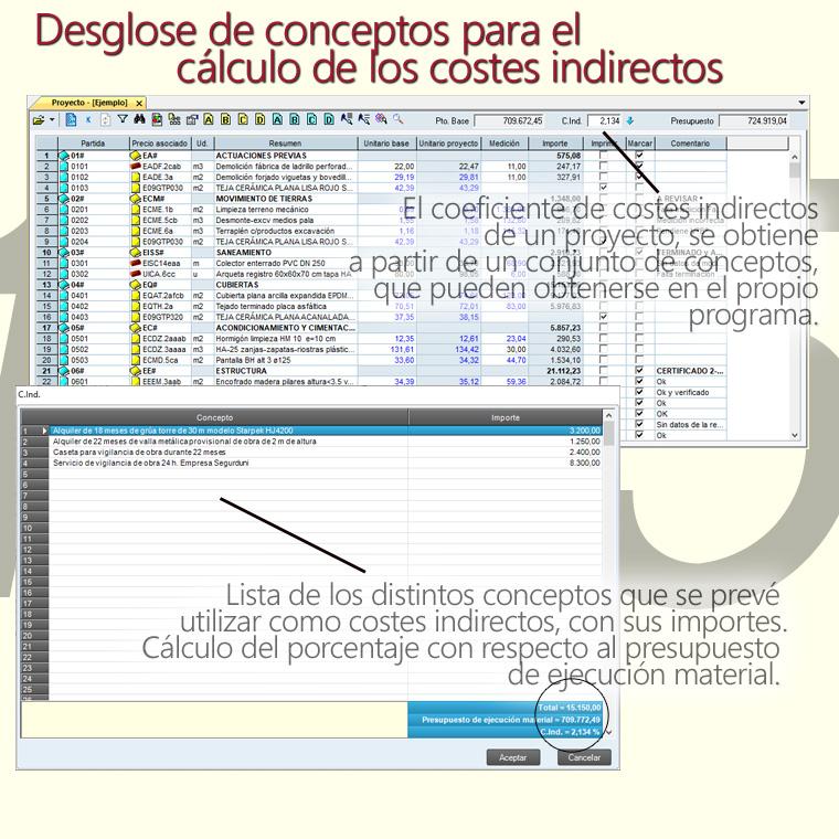 Gest-Constructo, desglose de costes indirectos y cálculo automático de su porcentaje sobre el presupuesto de ejecución