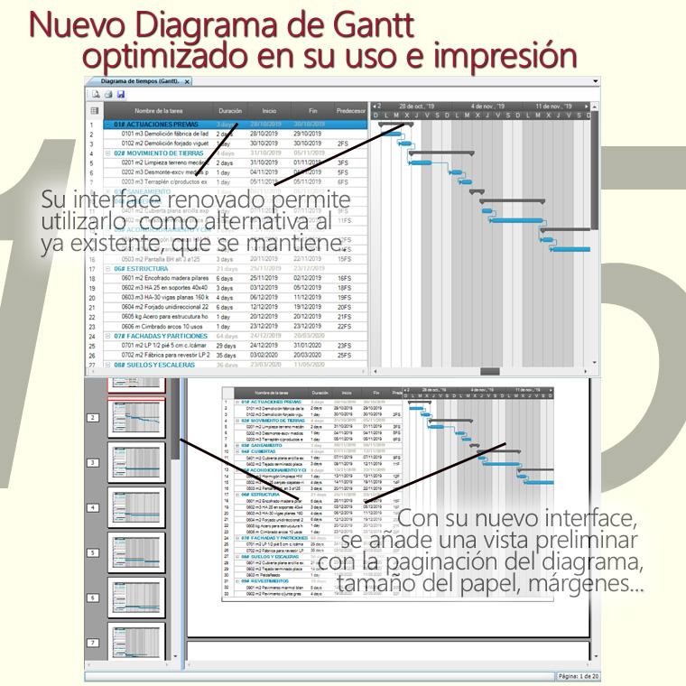 Gest-Constructo, nuevo diagrama de Gantt más potente, más calidad de presentación