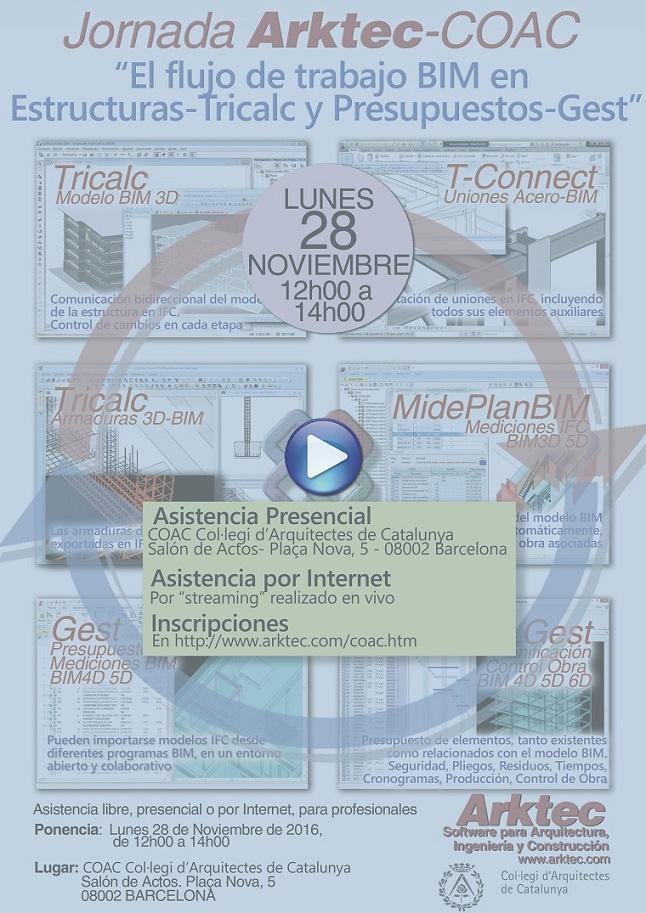 Jornada ARKTEC-COAC EL flujo de trabajo BIM en Estructuras-Tricalc y Presupuestos-Gest