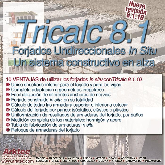 Tricalc 8.1.10, forjados unidireccionales in situ