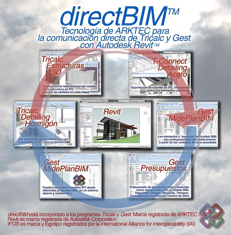 directBIM, tecnología ARKTEC para la comunicación directa de TRICALC y GEST con Autodesk Revit