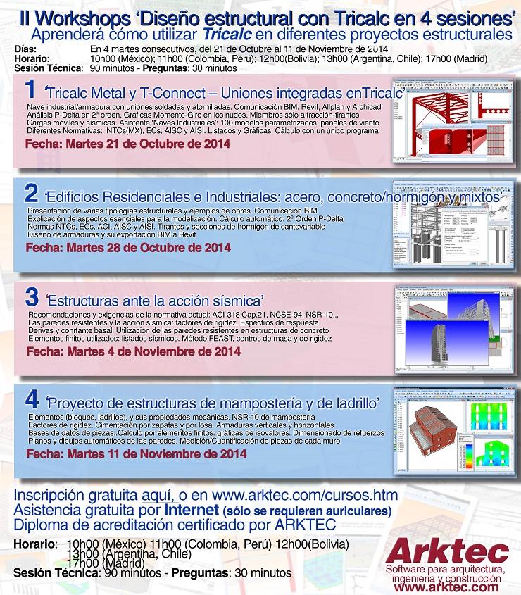 II Workshops de Diseño Estructural con Tricalc en 4 sesiones